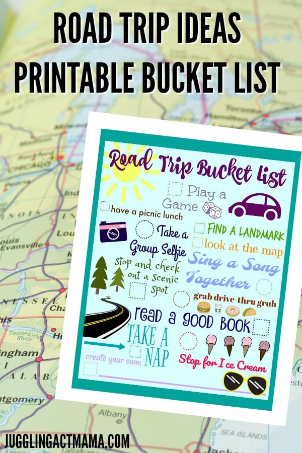 Road Trip Ideas Printable Bucket List - Juggling Act Mama #roadtrip #freeprintable