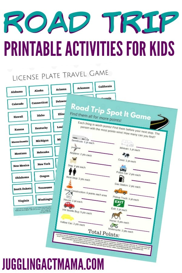 Road Trip Printable Activities for Kids - Juggling Act Mama