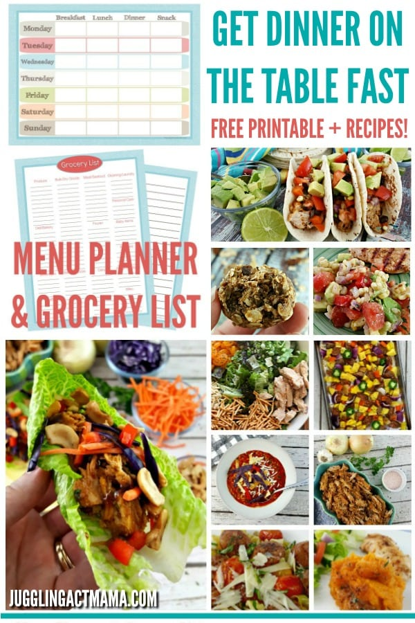 Get dinner on the table fast! Menu planning ideas and free printables from jugglingactmama