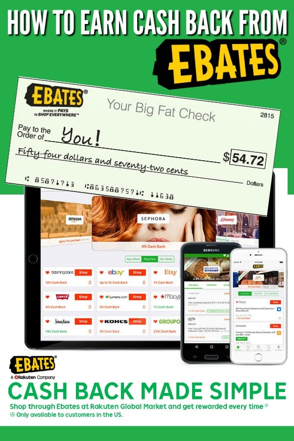 How to get cash back from ebates