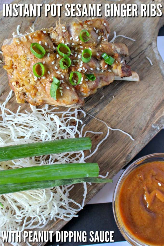 SESAME GINGER INSTANT POT BABY BACK RIBS WITH PEANUT DIPPING SAUCE