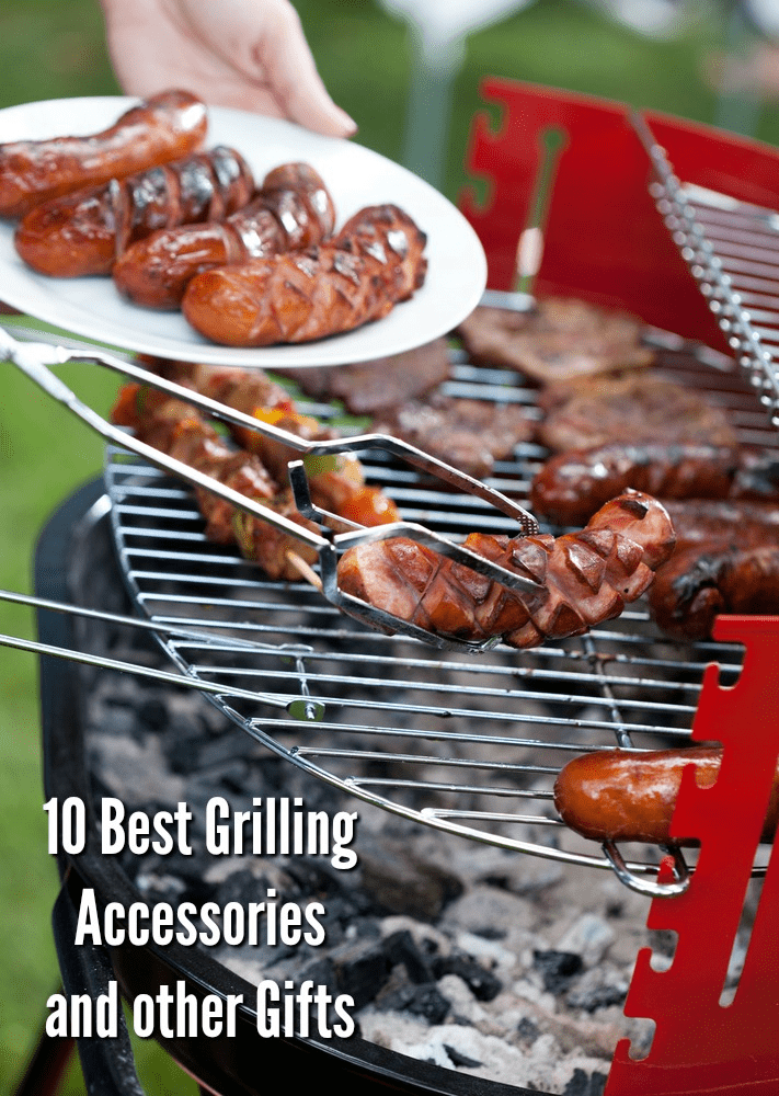 A plate of sausages near a red grill with someone using tongs to pick up another sausage - 10 Best Grilling Accessories + Other Gifts