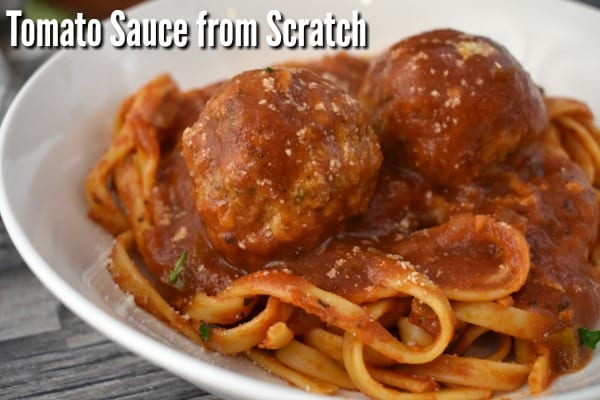 Homemade Tomato Sauce topping spaghetti with meatballs