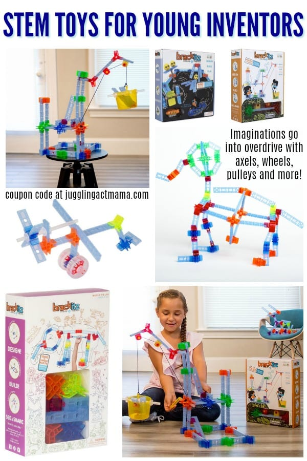 Imaginations go into overdrive with axels, wheels, pulleys and more! #ad #Brackitz #giveaway