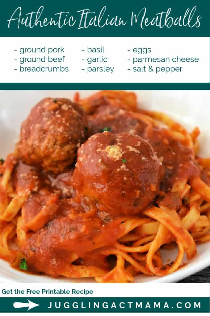 Authentic Italian Meatballs Recipe - tender, easy to make meatballs are easier than you think and this family recipe is incredibly delicious! via @jugglingactmama