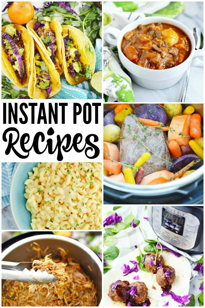 Instant Pot Meals the Whole Family Will Love - wings, tacos, mac and cheese, beef stew, ribs, soup, pork tenderloin, even meatloaf! via @jugglingactmama