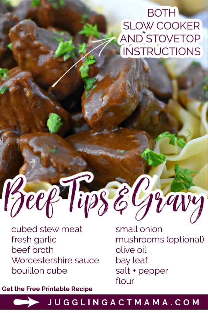 BEEF TIPS AND GRAVY Savory delicious beef tips smothered in rich homemade brown gravy! Includes stove top or slow cooker instructions. via @jugglingactmama