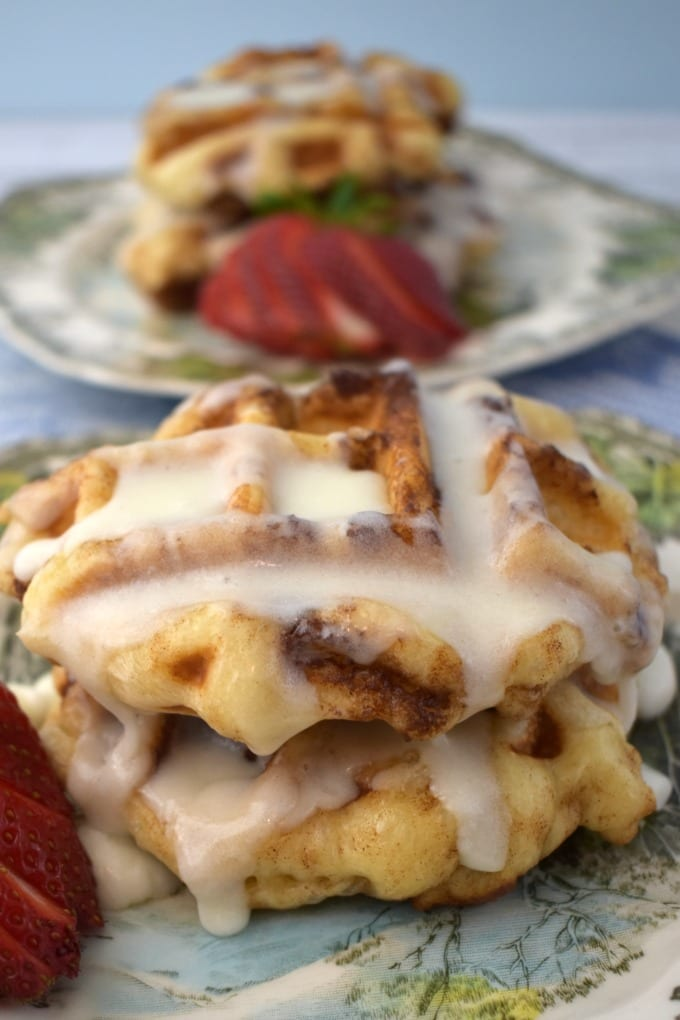 Decadent cinnamon rolls waffles are a delicious treat!
