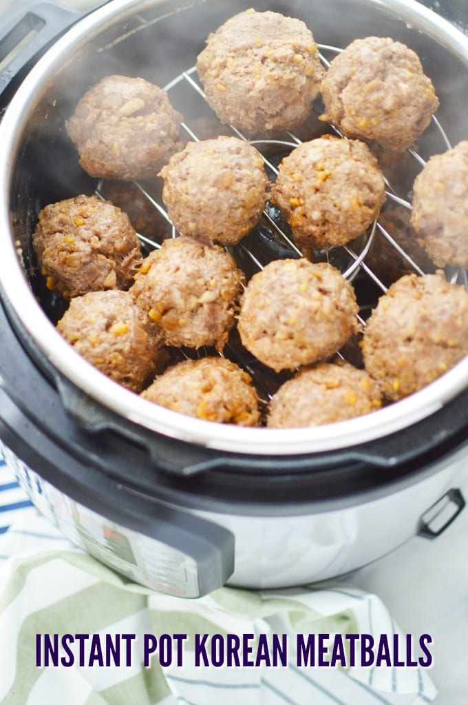 In Instant Pot pressure cooker with Korean Meatballs that have just been cooked.