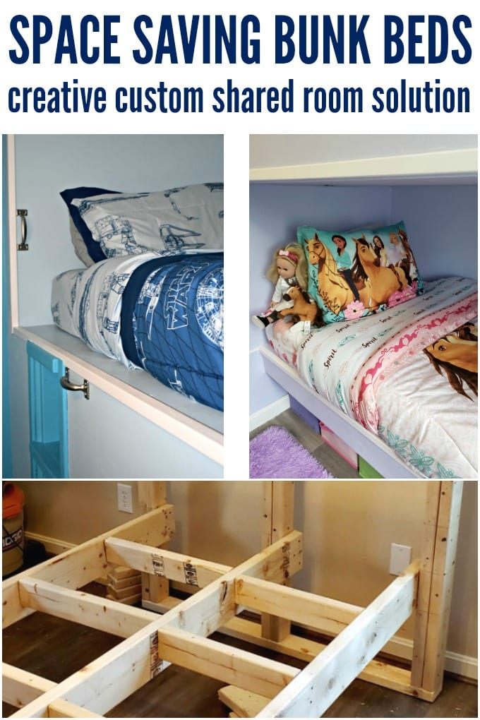 A collage with two finished bunk beds and the structure