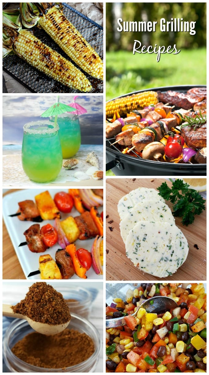 A collage of grillied corn, pork kabobs, cowboy seasoning rub, cowboy butter, cowboy caviar and more