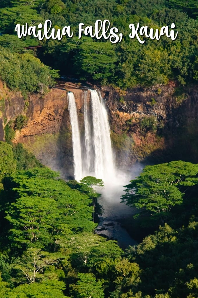 Wailua Falls in Kauai cascades 85 feet down into a pool.