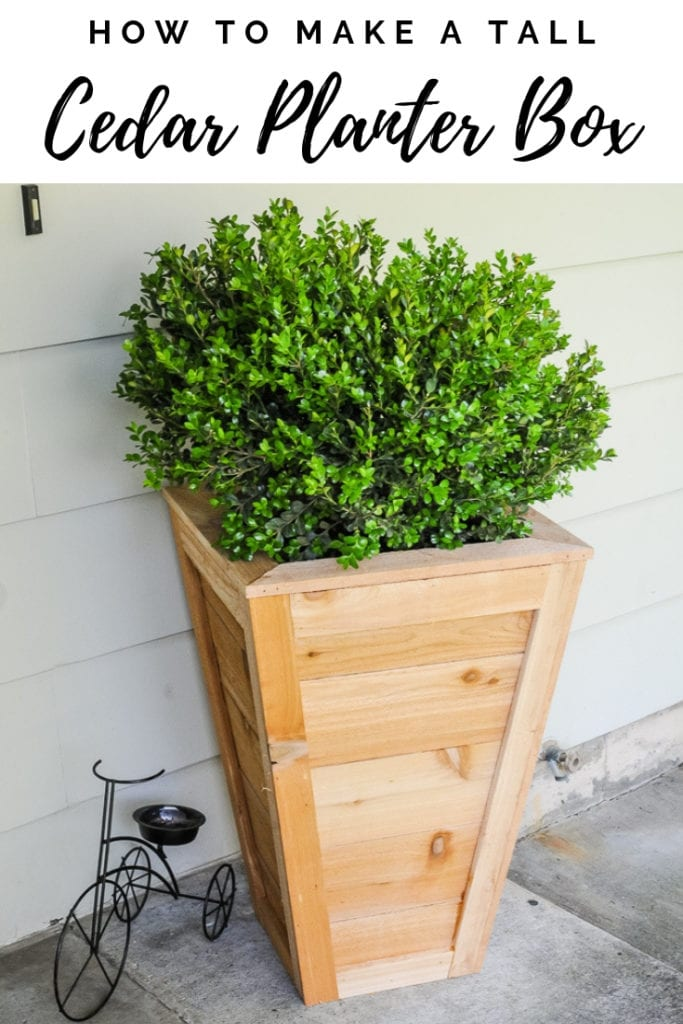 A tall cedar planter box on front porch with boxwood planted in it.