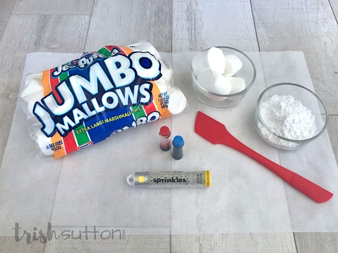 Marshmallows, Powdered Sugar, Food Coloring & Edible Glitter is all you need for this project.