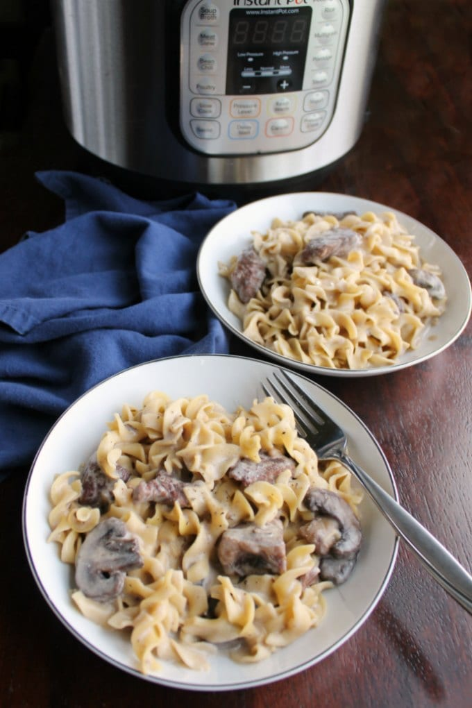 two servings of beef stroganoff served and ready to eat in front of an instant pot