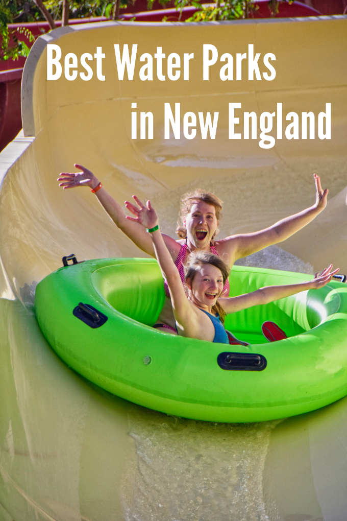 Mom and daughter in a green tube sliding down a water slide together with lots of joy on their faces