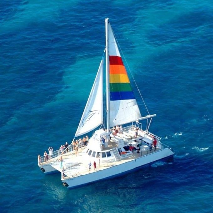 A catamaran in the Pacific ocean off the coast of Kauai