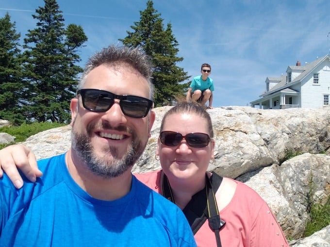 Selfie of Ang, Matt and Ethan at Pemaquid Point Lighthouse