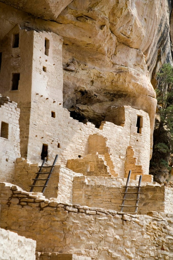 Mesa Verde National Park preserves the man-made dwellings of the Ancestral Puebloans.
