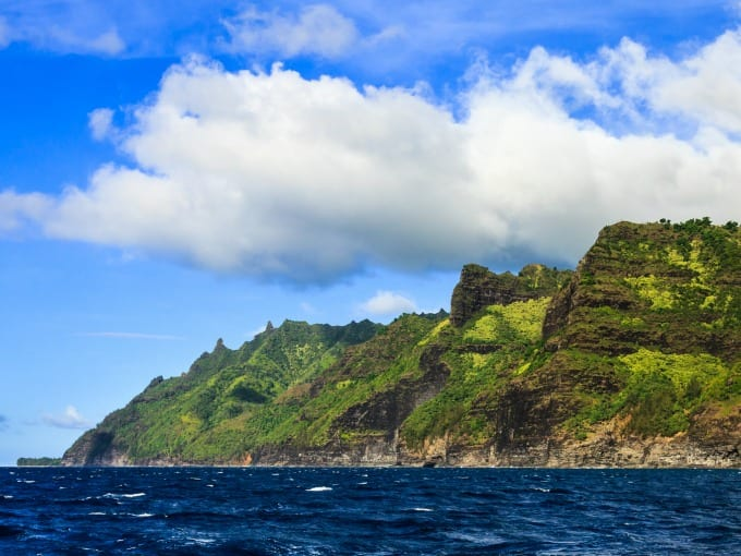 The Na Pali landscape is made of huge cliffs, some as tall as 4000 feet above sea level.