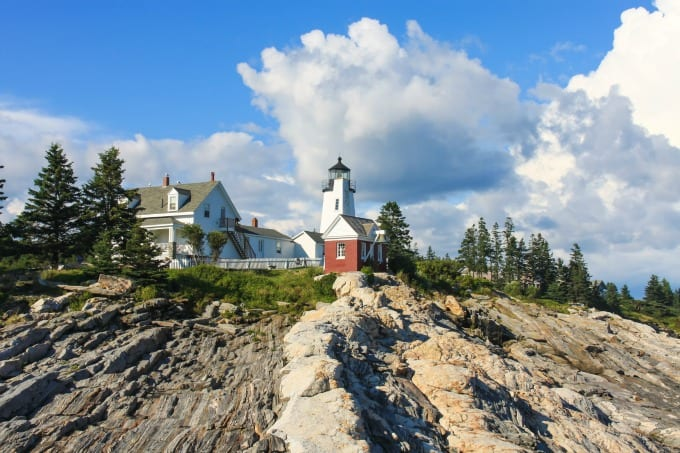 A view of Pemaquid Point Lighthouse as seen from the rocks.