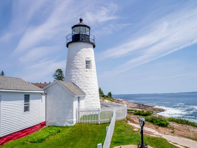 A view of Pemaquid Point Lighthouse on Muscongus Bay and Johns Bay in Bristol Maine.