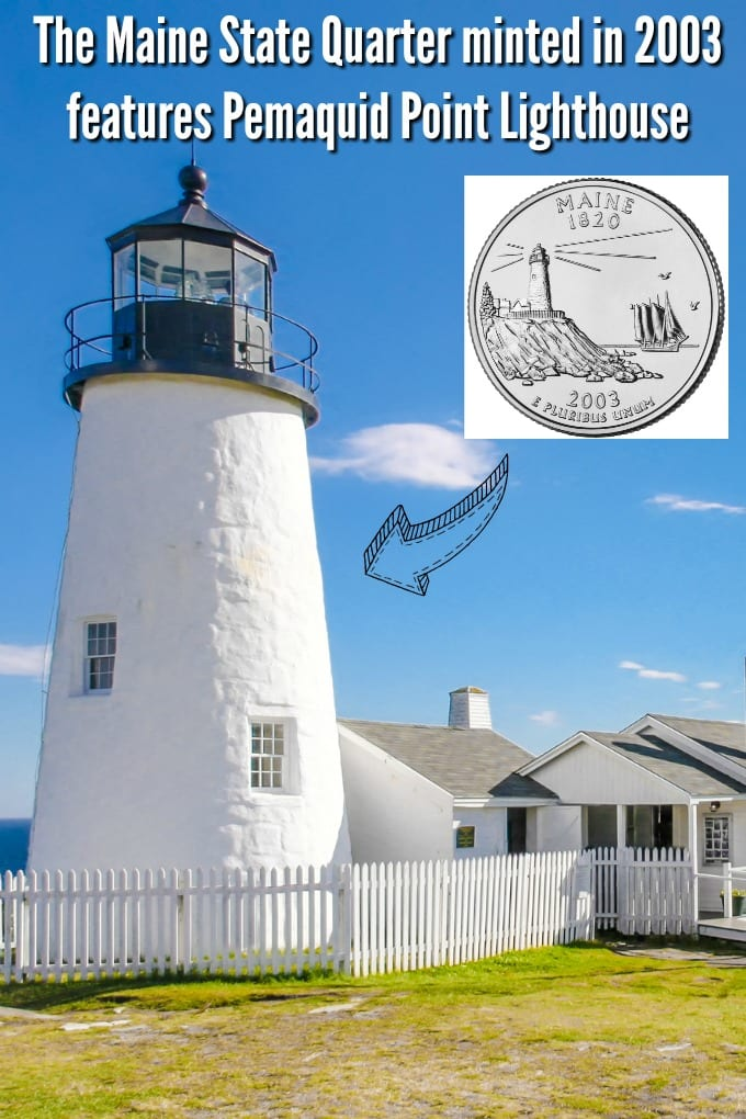 A view of Pemaquid Point Lighthouse on Muscongus Bay and Johns Bay in Bristol Maine. The lighthouse was featured on Maine state quarter minted in 2003.