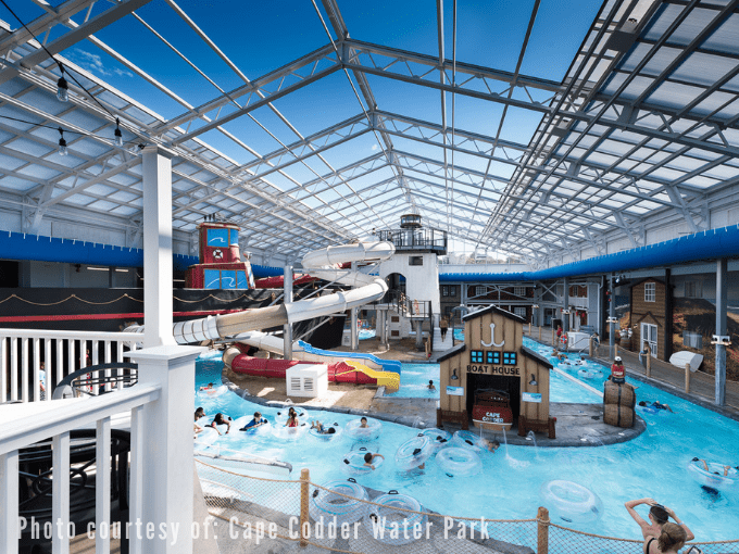 A long view of Cape Codder Water Park which includes various water slides and a 'lazy river' tube ride