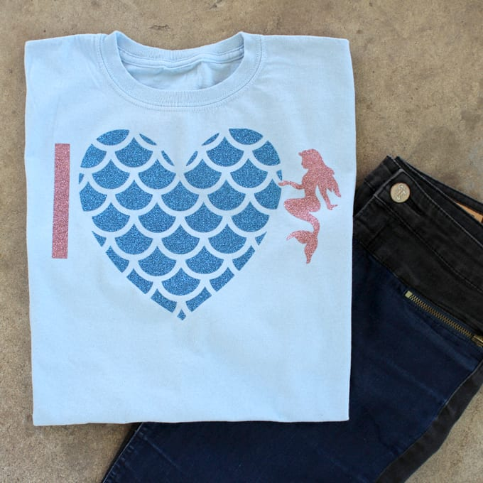 Mermaid scale heart shirt made with Cricut glitter iron-on.