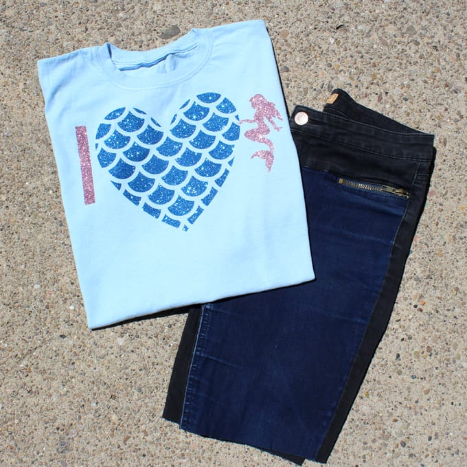 I heart mermaids shirt made with glitter iron-on vinyl and cut with the Cricut maker.