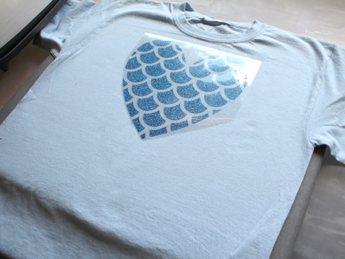 Cricut glitter iron on vinyl set on tee shirt.