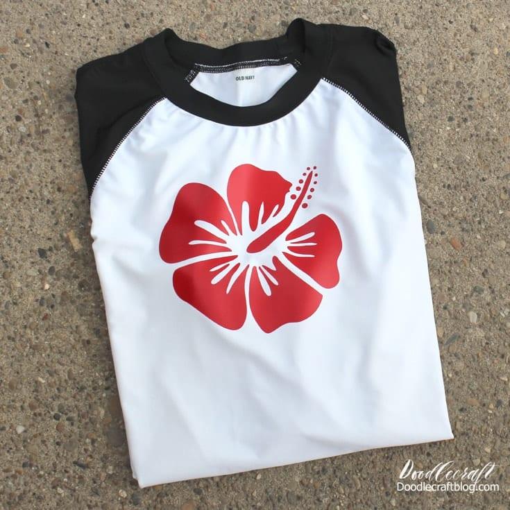 Sportflex iron on vinyl on rashguard swim surf shirt.