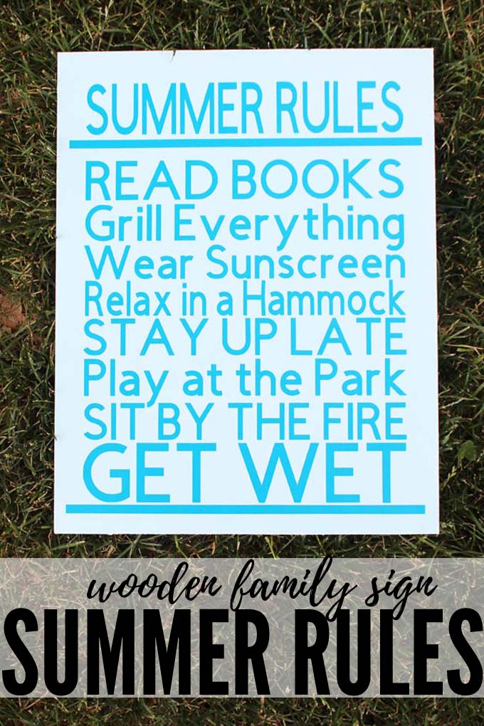 Make a Summer Rules Wooden Family Sign to hang in your home, set in the entryway, post out on the patio or to place on a colorful bookshelf.  Use the Cricut Maker to cut the vinyl and this craft takes 15 minutes or less. These rules are sure to please everyone in your home! via @jugglingactmama