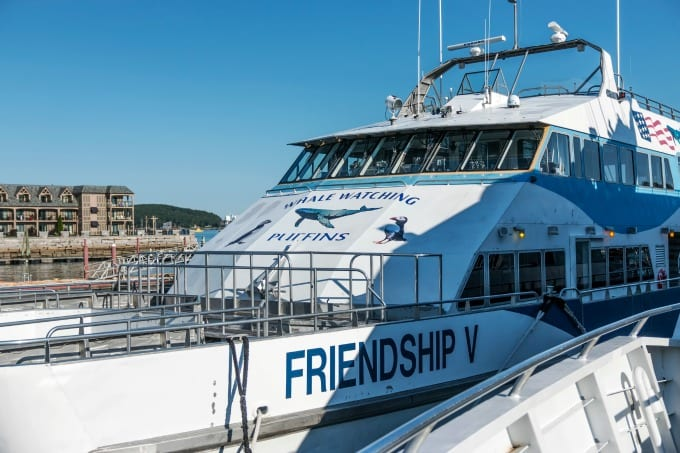 The Friendship V catamaran, of the Bar Harbor Whale Watch Company,