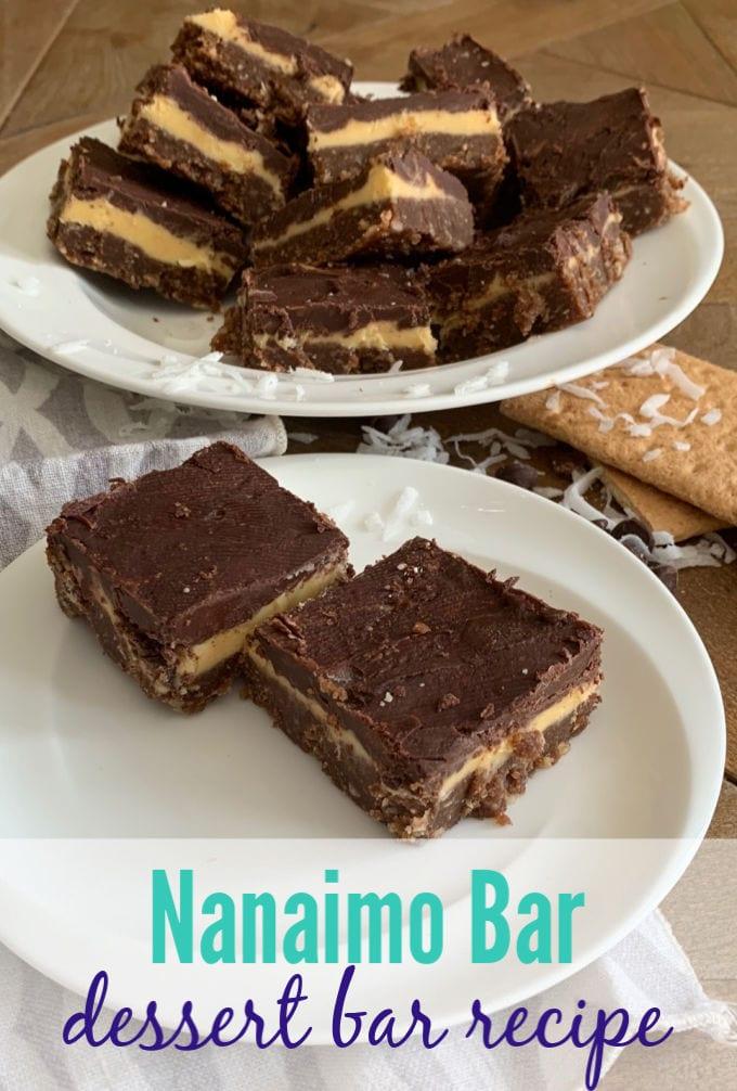 nanaimo bars on a plate