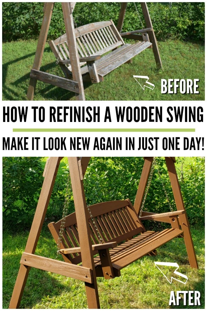 A before and after collage showing a shabby outdoor wooden swing that has been refinished.