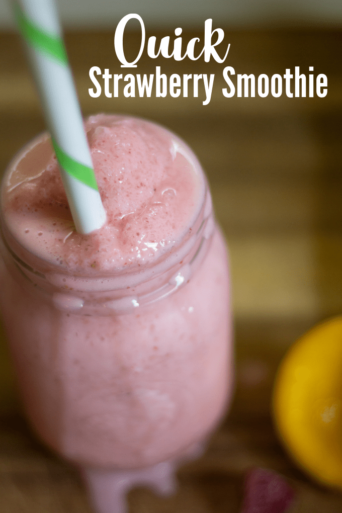 If you need a quick and healthy breakfast or snack then this strawberry smoothie with frozen berries, banans, yogurt, and honey is the solution! via @jugglingactmama