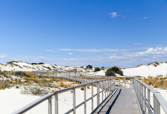 Boardwalk at dunes in White Sands, New Mexico