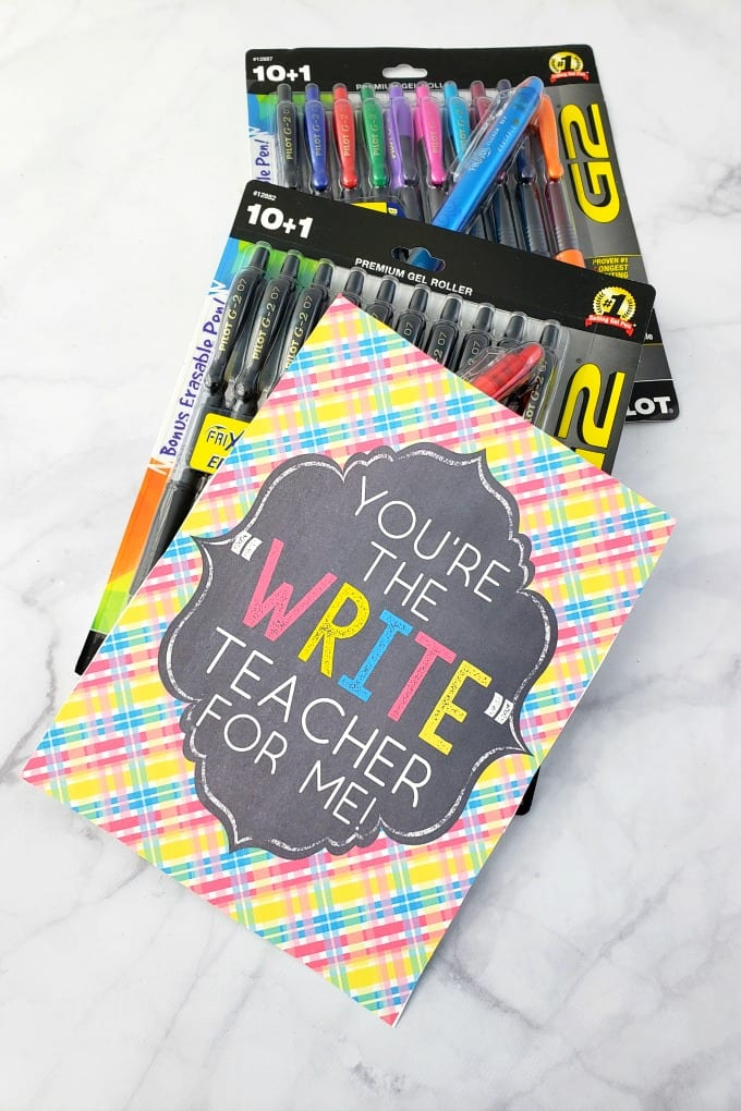 Classroom Supplies for Teachers: packages of pens on a marble counter with a free printable