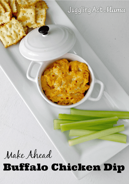 Easy Buffalo Chicken Dip Recipe is so simple to make! Loaded with blue cheese, Frank's Red Hot Sauce and baked in the oven until hot and bubbly! You can used canned chicken or rotissiere. This dip is one of our most popular recipes of all time. It's a simple game day staple and you can even make it ahead! #chickendip #buffalodip #jugglingactmama #tailgatingfood via @jugglingactmama