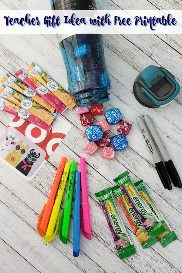 An image of free back to school printables, a water bottle, candies, highlighters and Target gift cards
