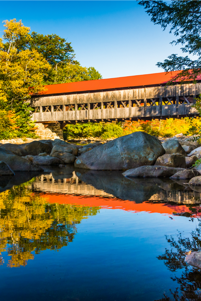 Albany Covered Bridge, along the Kancamagus Highway in White Mountains of New Hampshire