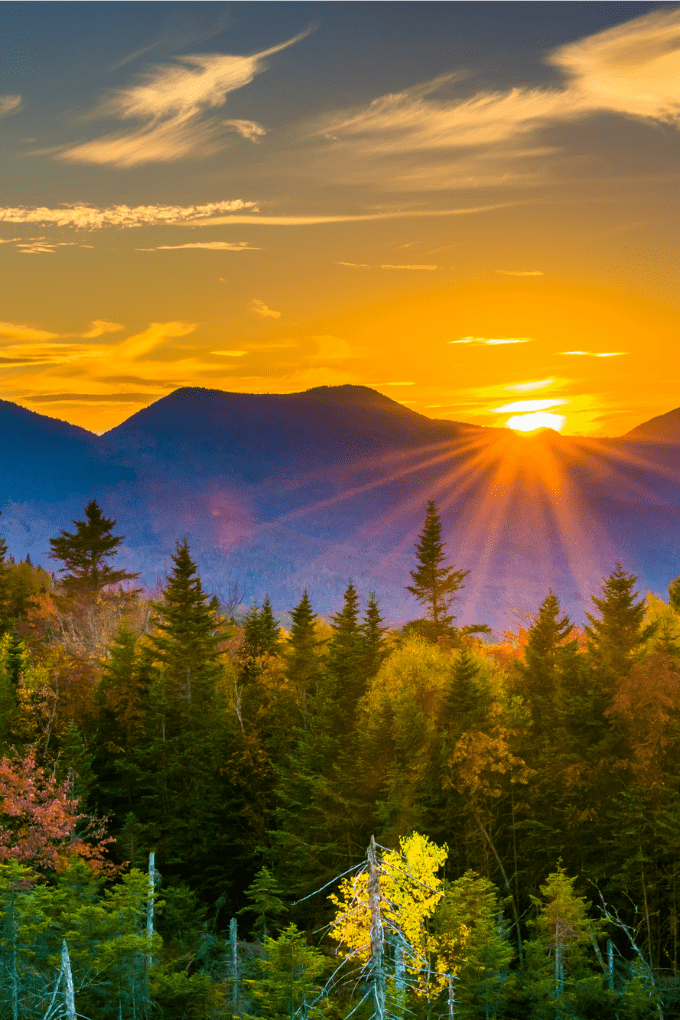 A mountain view at sunset of the the Kancamagus Highway in White Mountains of New Hampshire