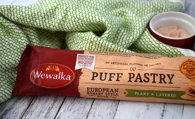 Package of Wewalka Puff Pastry Dough next to a green hand towel