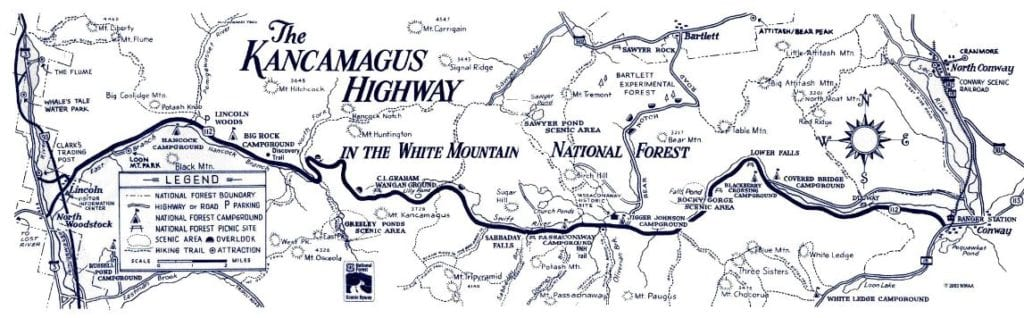 map of the Kancamagus Highway