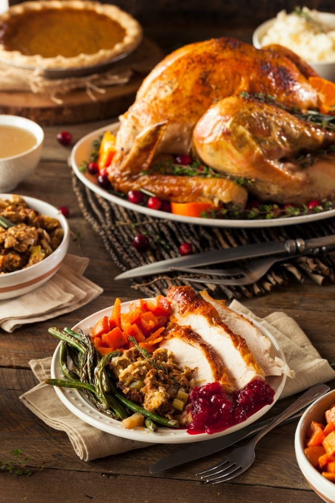Full Homemade Thanksgiving Dinner with Turkey Stuffing Veggies and Potatoes - 50+ Best Thanksgiving Recipes