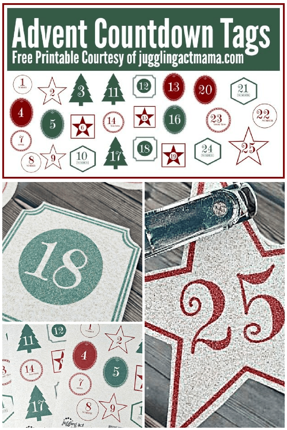 These gorgeous Printable Advent Calendar Numbers using glittery paper add a touch of holiday whimsy! Download them for free and get our tips on how to use this paper. via @jugglingactmama
