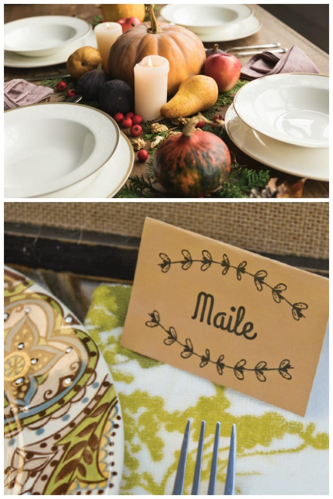 Download this printable Thanksgiving place cards file here for free! These editable fall place cards are the perfect way to add that personal touch to your holiday table. via @jugglingactmama