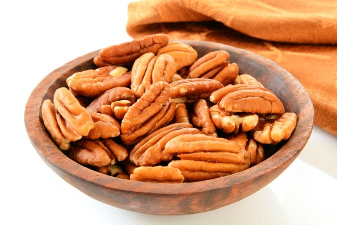 pecans in a wooden bowl