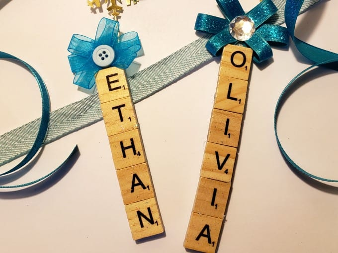 personalized scrabble tile ornaments on a white background